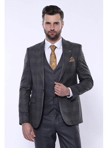 Wessi Erkek Slim Fit Ekose Tek Düğme Yelekli Takım Elbise Lacivert